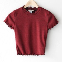 Ribbed Mock Neck Crop Top - Burgundy