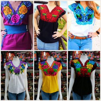 Mexican Traditional Embroidered Blouse