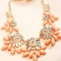 Candy Coral Statement Bib Necklace