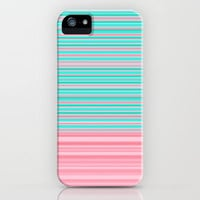 Aqua Pink Ombre Stripe iPhone Case by Dale Keys | Society6