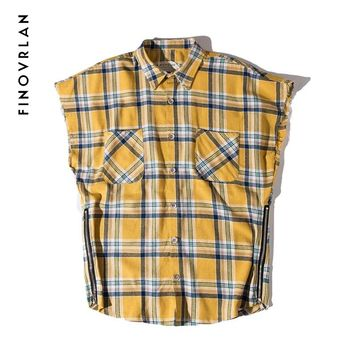 Kanye West Men's Flannel Plaid Shirts 2018 Justin Bieber Male hip hop Sleeveless Shirt Clothes Men Casual tee Streetwear