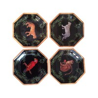 Pre-owned Decorative Decoupage Plates - Set of Four