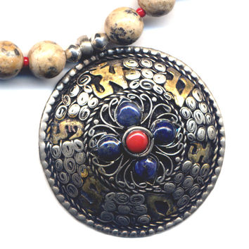 Tibetan Double Dorje Mandala Necklace, FREE US Shipping, Nepal Mandala Pendant, Jasper Necklace, Nepal Jewelry by AnnaAr72