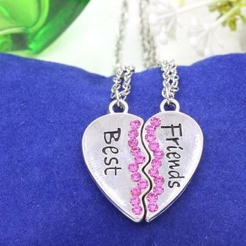 2 PCS Best Friends Necklace Two Half Love Heart BFF Pendant Necklaces For Women Men Crystal Couples Paired Friendship Necklace