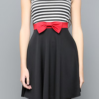Ribbon Point Stripe Dress
