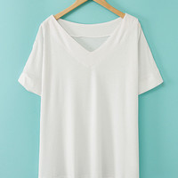 V-Neck Short Sleeve Long Back T-Shirt