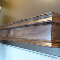 "36""L Wood Mantle, Mantel, Shelf, Fireplace, Modern Floating Wall Shelf, Floating Shelf, Walnut Color Wood"