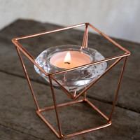 Glass Tea Light Holder With Copper Stand 3.75""