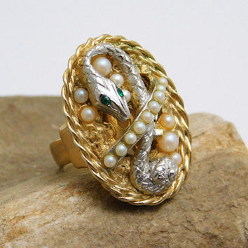 Vintage Snake Ring Victorian Revival Jewelry Uncas