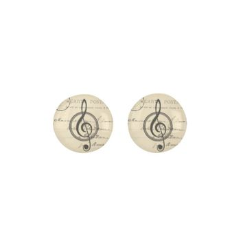 Vintage Musical Clef French Postcard Earrings