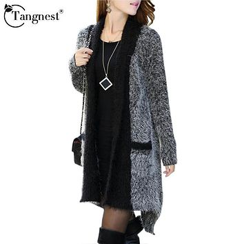 TANGNEST Women Sweaters 2016 Spring Autumn Fashion O-Neck Long Sleeve Patchwork Knitted Long Cardigans Casual Outwears WZL483