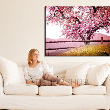 Large Wall Art Cherry Blossom Canvas Print, Large Canvas Print, Almond Tree, Hang Ready, Custom Canvas Printing, Botanical Decor Theme