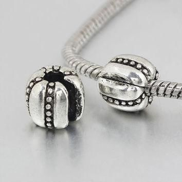 New High Quality Silver Stopper Bead Pumpkin Charm Clip Safety Beads Fit Women Pandora
