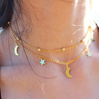 17KM Gold Color Star Moon Necklace for Women Multi Layer Leaf Steampunk Chokers Bohemian Body Chain Turquoise Colar Feminino