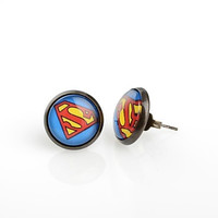Fashion Round Superman Antique Bronze Stud Earrings