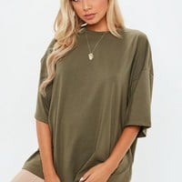 Missguided - Khaki Drop Shoulder Oversized Top