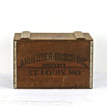 Vintage Anheuser-Busch Co. Wooden Crate, Beer Crate, Industrial