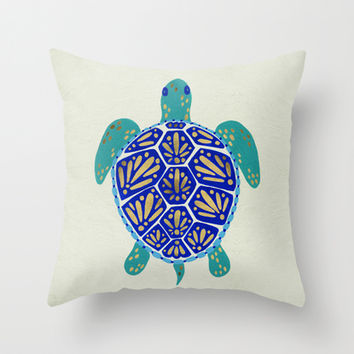 Sea Turtle Throw Pillow by Cat Coquillette