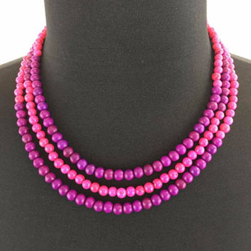Pink and Purple Turquoise Colorblock Necklace.