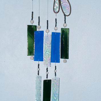 Illume Glass Studio Stained Glass Dragonfly Wind Chime