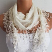 Ivory Cream Cotton Scarf with Lace | Missglory - Accessories on ArtFire