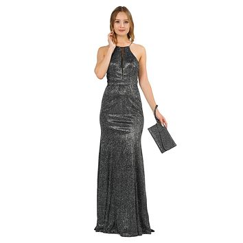 Black Long Prom Dress with Sheer Cut-Out Bodice