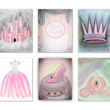 Princess Wall Art, Cinderella Shoe, Carriage, Royal Crown decor, Castle wall art, Set 6, Pink Gray, Dress art print, Princess Nursery Decor