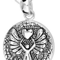 "Sterling Silver ""Guardian Angel Protect Me Wherever I Go and Keep Me From Harm"" Reversible Pendant Necklace with Angel, 18"" 