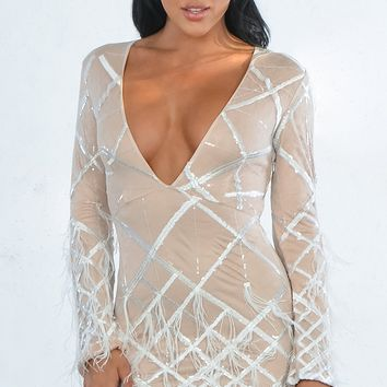 Made You Blush Geometric Pattern Sequin Feather Long Sleeve Plunge V Neck Bodycon Mini Dress