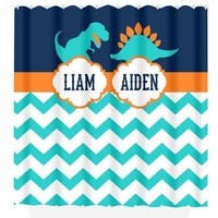DINOSAUR SHOWER CURTAIN, Dinosaur Bathroom Decor, Brothers Shared Bathroom, Dinosaur Theme Decor, Kid Bathroom  Beach Towel  Plush Bath Mat
