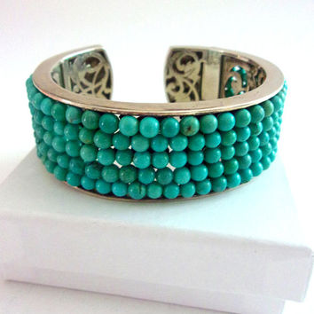 Turquoise Beaded Hinged Sterling Silver Cuff Bracelet, Whitney Kelly WK, Vintage
