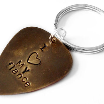 I LOVE MY FIANCE, personalized keychain, custom key ring, wedding, fiance, boyfriend, girlfriend, gift idea