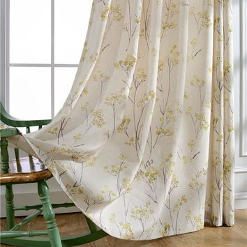 plant printed woven linen curtain and voile with printed for home cafe shop