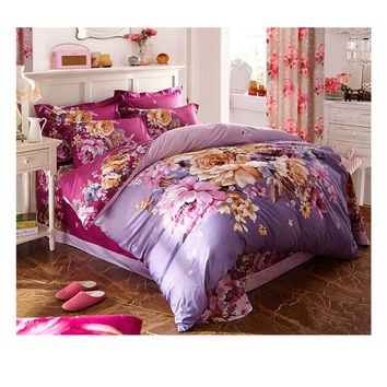 Cotton Active floral printing Quilt Duvet Sheet Cover Sets 2.0M/2.2M Bed Size 14