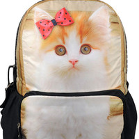 Cat Print Large Backpack