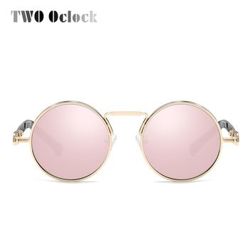 TWO Oclock Vintage Round Steampunk Sunglass Women Small Gold Metal Frame Sun Glasses Rose Gold Mirror Eyewear Accessories X6634