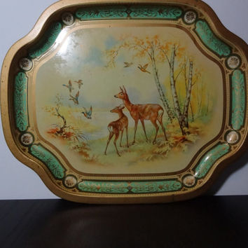 Vintage Baret Ware Decorative Metal Tray with Gold, Mint Green, Evergreen, and Yellow Colors and a Woodland Scene with Deer and Geese