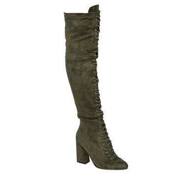 Trina Olive Lace Up Knee Boots