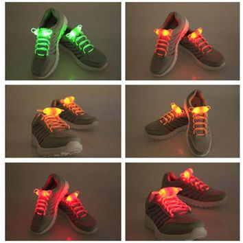 Shoelace Party Skating Charming LED Flash Light Up Glow Shoe Laces Shoestrings Flashing Colored Neon Luminous for men women