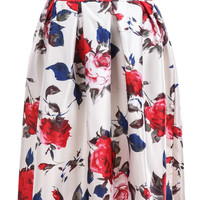 White Rose Printed High Waist Pleated Skirt