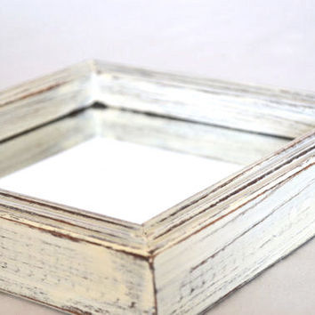 Shabby Chic Distressed White Square Mirror