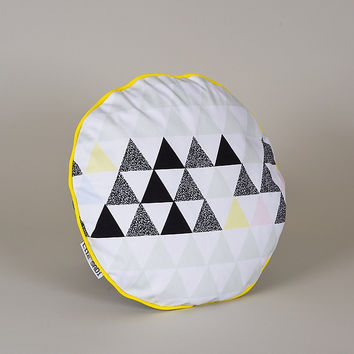 Soft Triangles Circle Pillow