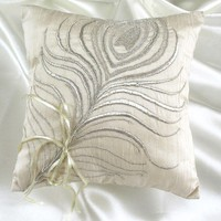 off white silk ring bearer pillow with silver by comfyheaven