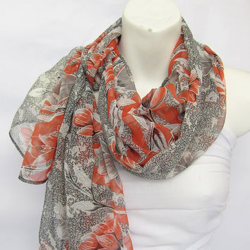 Gray Black Fire Brick Red Tulip Chiffon Scarf ..Tissu...Extra Large Scarf .Japanese traditional Flowers for Woman or Teen