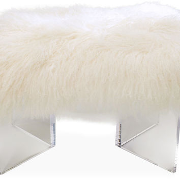 Curly V-Bench, Ivory, Acrylic / Lucite, Entryway Bench