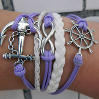 Antique Silver anchor rudder infinite hope Lavender wax rope adjustable elegant Bracelet