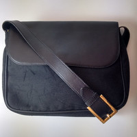 YSL Authentic Yves Saint Laurent Vintage Black Leather and Canvas Shoulder Crossbody Bag. French Designer Purse.
