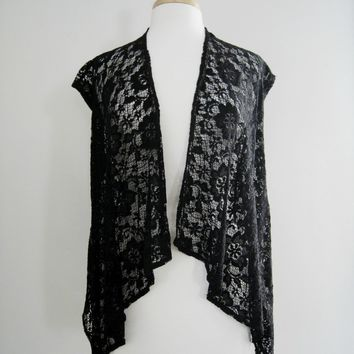 Topshop Black Lace Top / Cover up - Size Medium