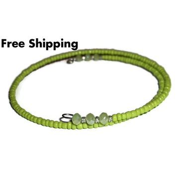 Plus Size Elegance Lime Green Glass & Faceted Peridot Green Crystal Beaded Stackables Artisan Crafted  Wrap Bracelet (L-XXL)