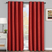 Red Galleria Blackout Thermal Coating Tonal Stripe Window Grommet Curtain (Single Panel)